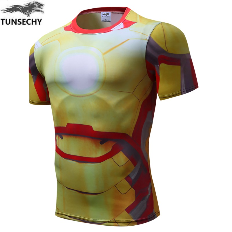 2017 spider-man male quick dry compressed T-shirt superman and batman captain America fitness T-shirt Wholesale and retail