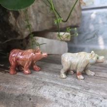South American soap stone polar bear stone carving crafts living room gardening furnishings small animals desktop