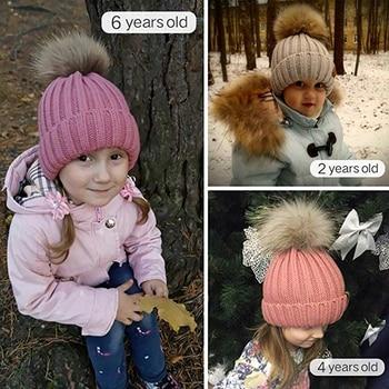 FURTALK Winter Pompom hat for Kids Ages 1-10 Knit Beanie winter baby hat for children fur Pom Pom Hats for girls and boys 5