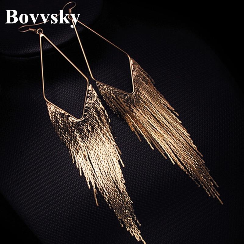 Bovvsky Dangle gold color metal Elegant Large Earrings Long Design Vintage Tassel Drop Dangle Earrings
