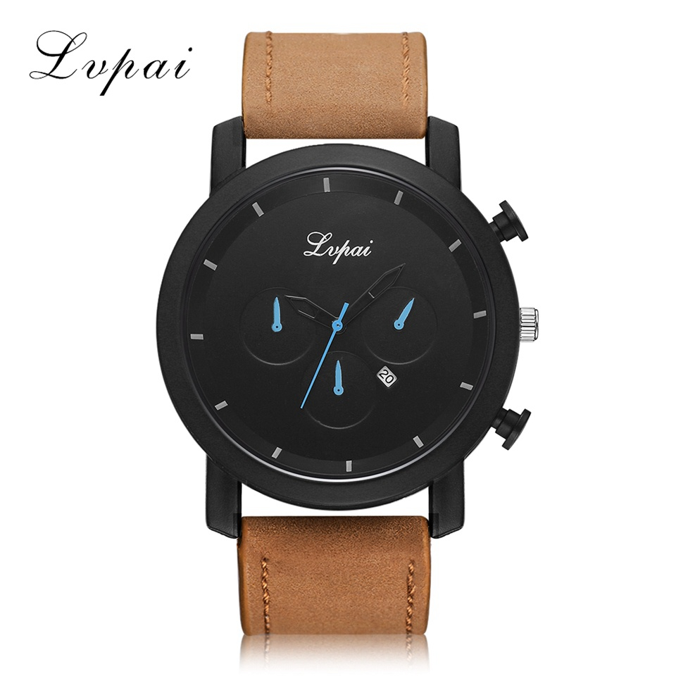 Lvpai Fashion Large Dial Military Quartz Men Watch Leather Sport watch Calendar High Quality Clock Wristwatch Relogio Masculino new 2017 relogio masculino reloj watch men quartz sport military stainless steel dial leather band wristwatch clock gift1114d 50