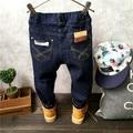 Inverno grosso Crianças calças de Brim Do Bebê do Menino de Algodão Elástico Da Cintura Calças Jeans Da Moda Menino lazer estilo cowboy Calças varejo