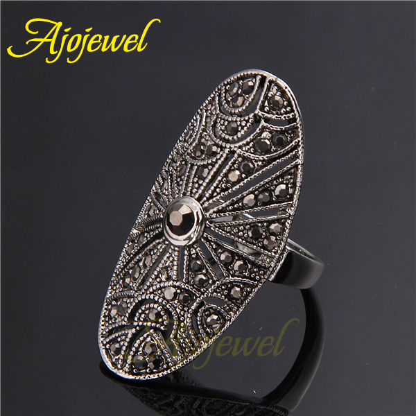 Ajojewel New Elegant Women 39 s Vintage Retro Ring Black Stone Anel De Falange Bijoux Anel De Formatura in Rings from Jewelry amp Accessories