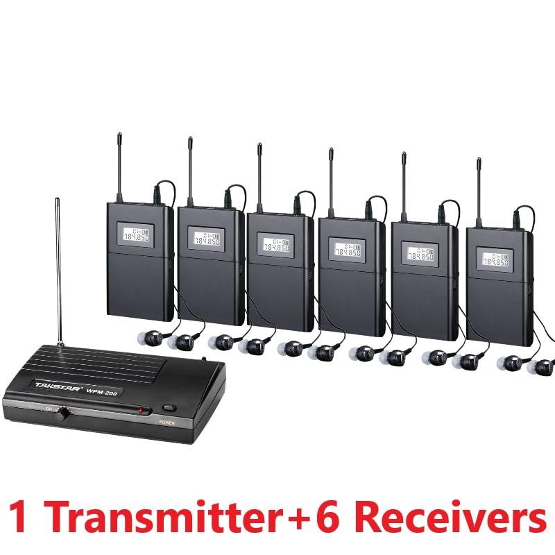 Takstar WPM 200 UHF wireless monitor system stereo wireless headset stage monitors 1 Transmitter 6 Receivers