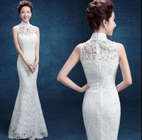 White Lace Fish Tail Long Cheongsam Dress Women Modern Qipao Chinese Oriental Dress Robe Chinese Oriental Evening Dress