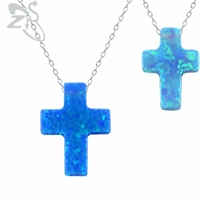Hot Fashion Elegante Opal Choker Necklace Cross Design Friendship Necklaces High Quality 925 Sterling Silver Necklace