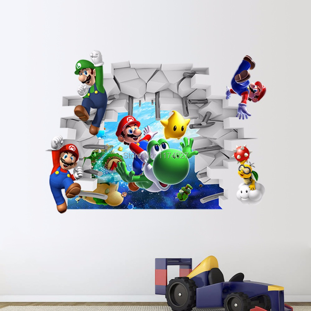 Free shipping New Super Mario Bros Cartoon Vinyl Wall stickers for kids rooms DIY Wallpaper Art Decals Home decor