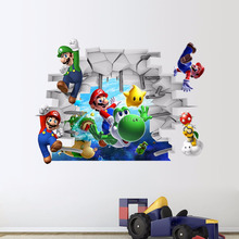 Free shipping New 3D Super Mario Bros Cartoon Vinyl Wall stickers for kids rooms DIY Wallpaper Art Decals Home decor