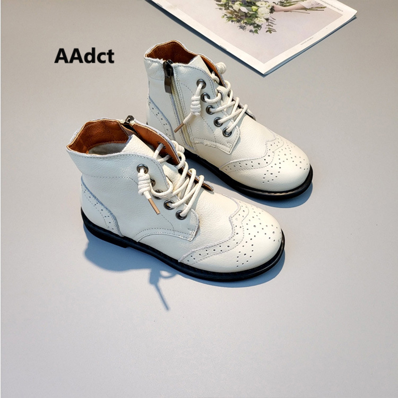 где купить AAdct new Autumn Fashionable genuine leather girls boots korean Comfortable Martin Children boots for boy High qualiy kids shoes дешево