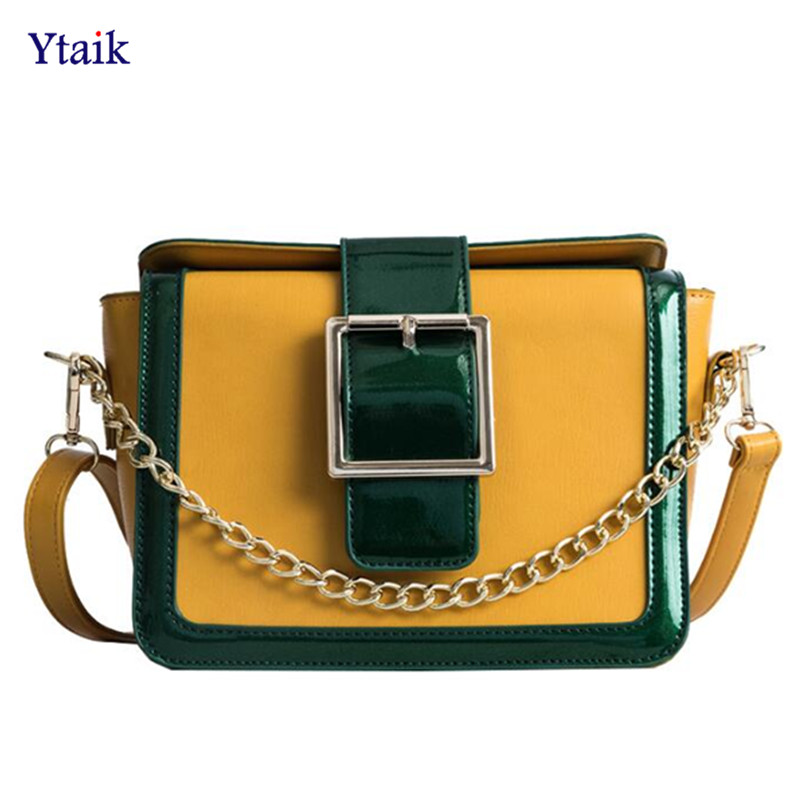 YTAIK 2018 New PU Leather Small Flap Bags Europe & American Style Fashion Hit Color Lock Square Bag Chain Shoulder Messenger Bag