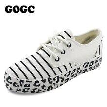 GOGC Frauen Schuhe Baumwolle Leinwand Schuhe für Frauen Frauen Schuhe Damen Striped Leopard Flache Plattform Weiblich Sommer Schuhe