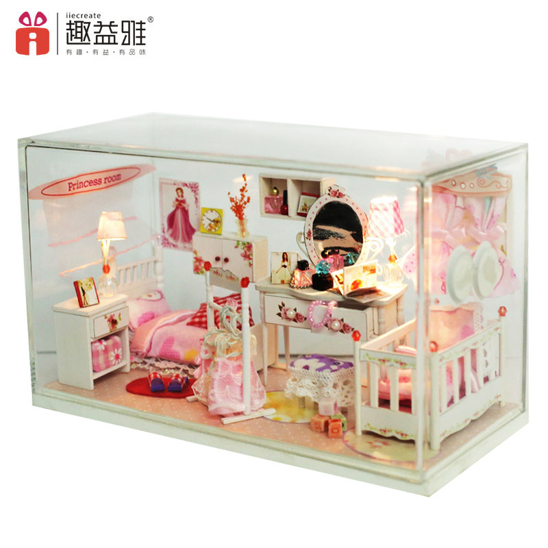 Розовый номер ручной работы кукольный дом Мебель миниатюрный DIY Кукольные домики миниат ...