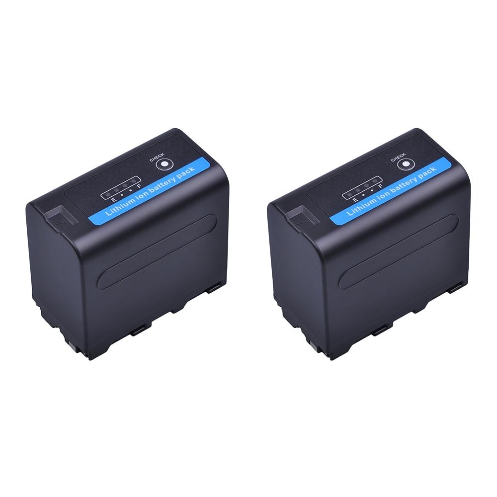 2 pièces 7.2V 7200mAh NP-F970 NP-F960 caméra Batteries avec indicateur d'alimentation LED pour Sony NP-F960 NP-F970 batterie NP F960 Batteria