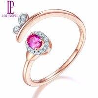 Твердый lohaspie 18 K Rose обручальные открытые кольца золото натуральный Драгоценный Рубин и бриллианты Fine Diamond ювелирные изделия в интернет мага