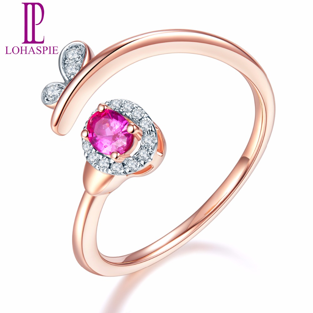 Lohaspie Solid 18K Rose Engagement Open Rings Gold Natural Gemstone Ruby and Diamonds Fine Diamond-Jewelry Online Best Buy GiftLohaspie Solid 18K Rose Engagement Open Rings Gold Natural Gemstone Ruby and Diamonds Fine Diamond-Jewelry Online Best Buy Gift