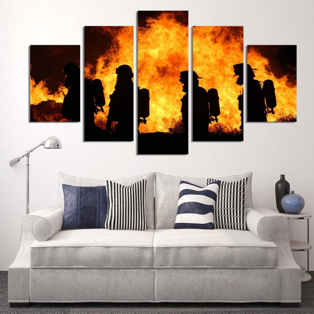 5 panels canvas prints firefighter our hero canvas painting poster home fireman decor wall art. Black Bedroom Furniture Sets. Home Design Ideas