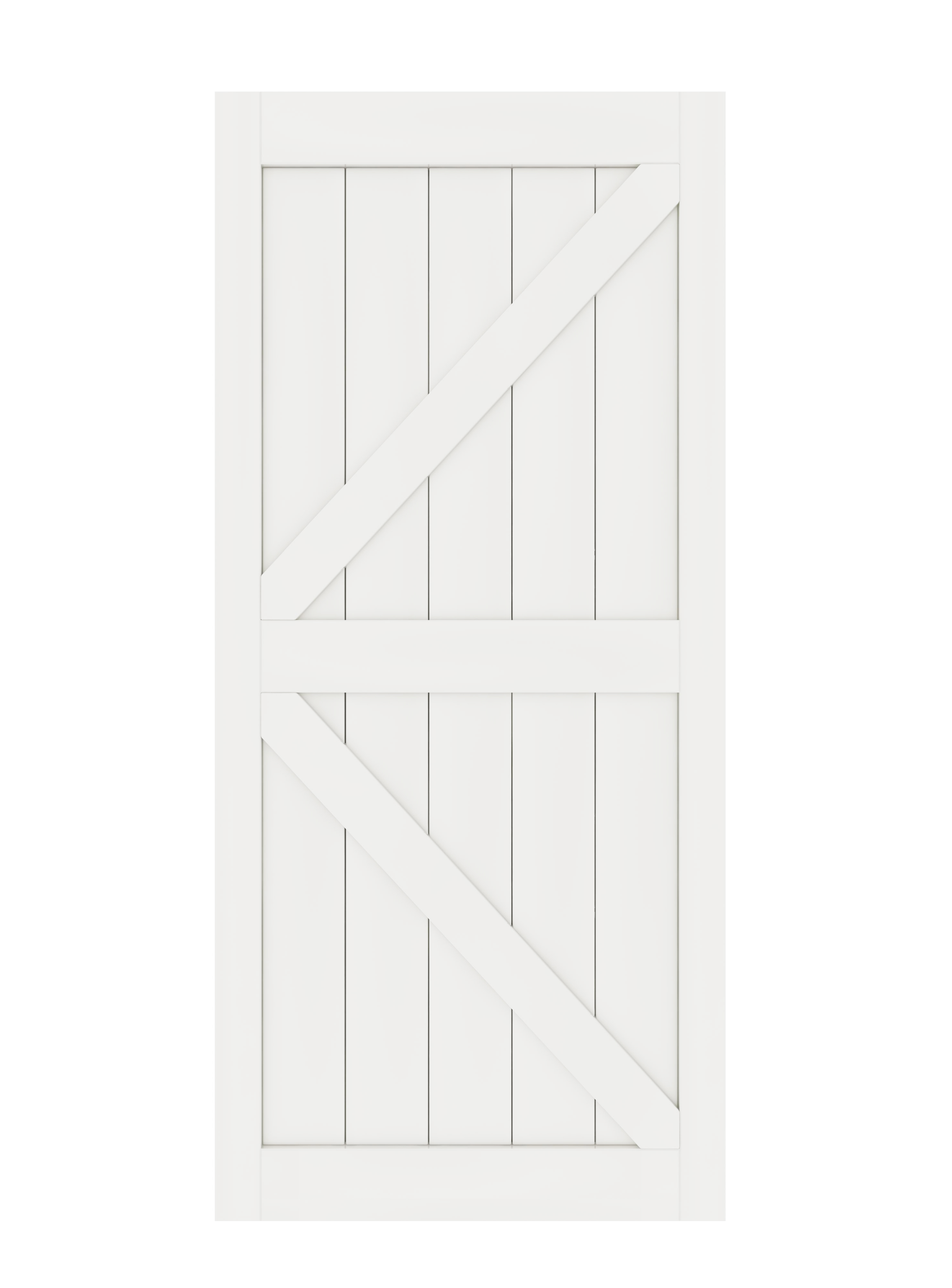 DIYHD K Shaped Solid Core Barn Slab MDF Primed Interior Door Panel(Disassembled), White-36X84, White-38X84