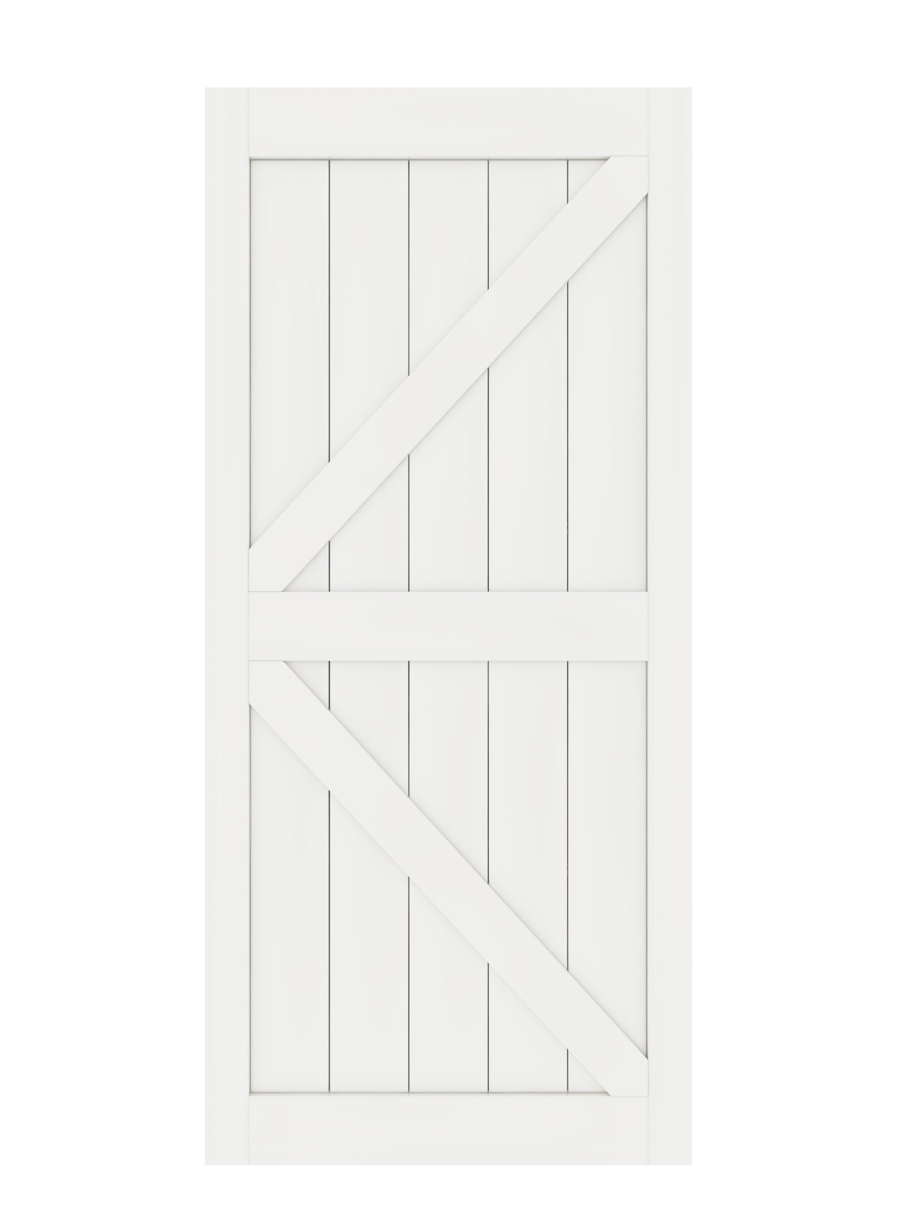 DIYHD K en forme de noyau solide grange dalle MDF apprêté panneau de porte intérieure (démonté), White-36X84, White-38X84