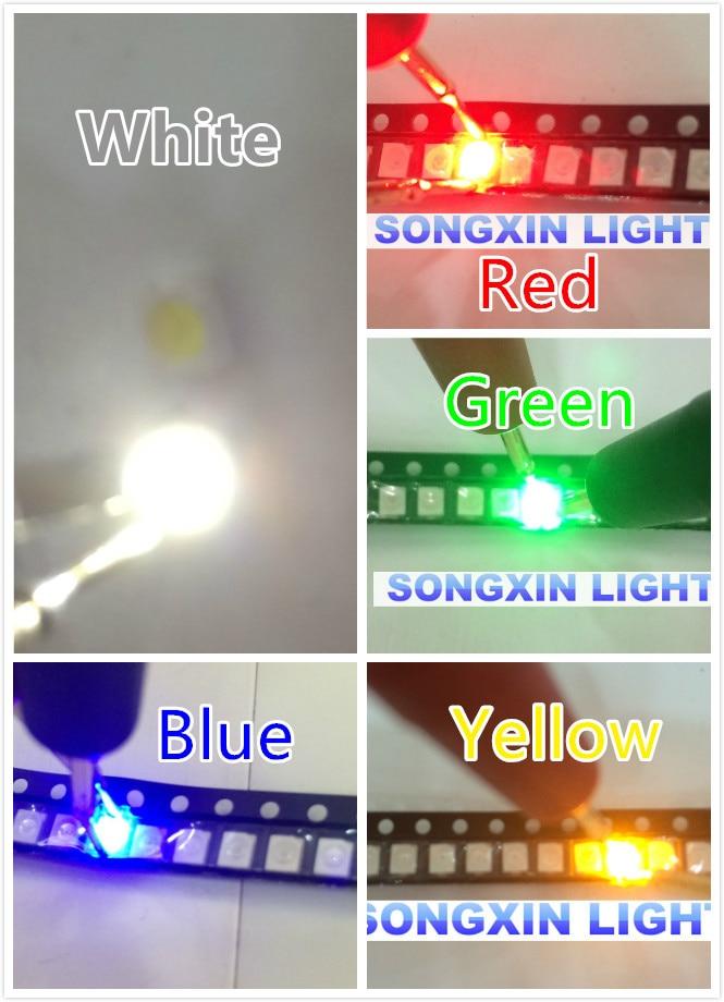 Kit diodo emissor de luz led 100 pçs/lote smd, diodo led diodo verde vermelho branco gelo azul amarelo rosa roxo-laranja uv rgb