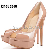 Brand New Shoes Women Pumps Fashion Open Toe High Heels Platform Patent Leather Wedding heels woman