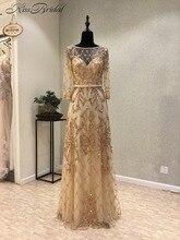 Neue Elegante Lange Abendkleid 2018 Scoop Langen Ärmeln Bodenlangen Perlen Tüll Mermaid Party Prom Kleider vestido de festa