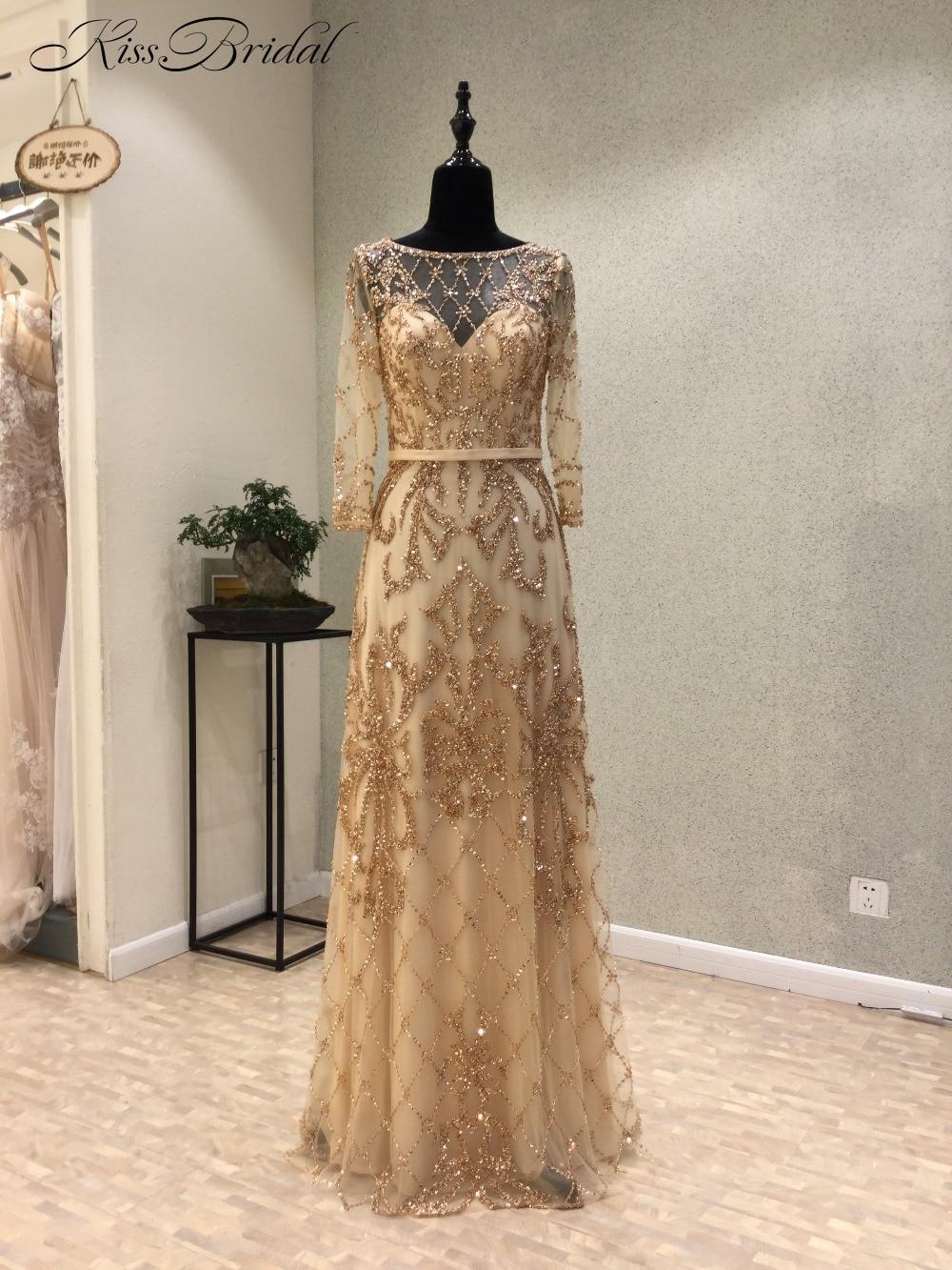 New Elegant Long   Evening     Dress   2018 Scoop Long Sleeves Floor Length Beaded Tulle Mermaid Party Prom   Dresses   vestido de festa