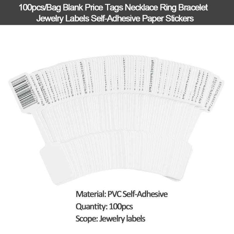 100pcs PVC Self Adhesive Blank Price Tags Necklace Ring Bracelet