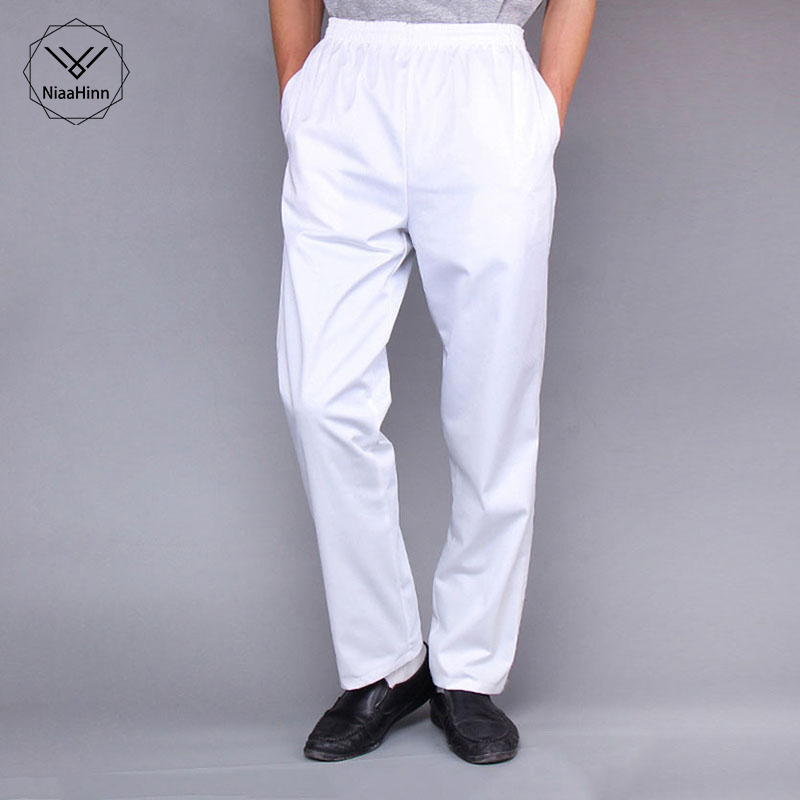 New Chef Trousers Food Service White Solid Pants Elastic Peppers Restaurant Kitchen Pants Bakery Stretch Work Wear Uniform Cook