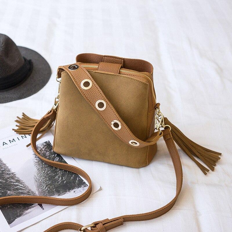 Autumn Winter Bucket Crossbody Bags For Handbags Lady Tassel Scrub PU Leather Tote Bag