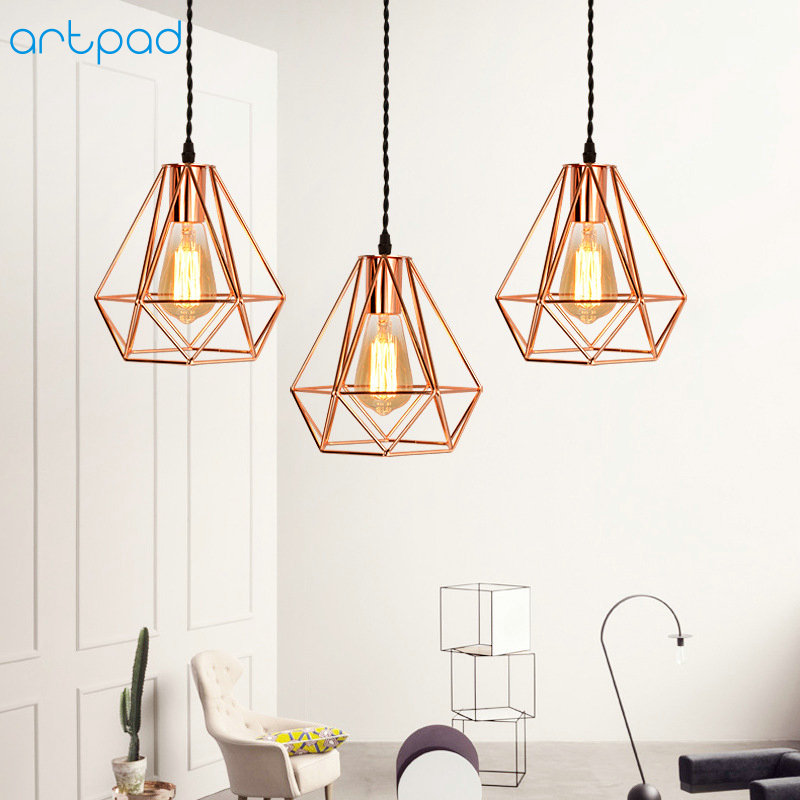 Artpad Modern Pendant Ceiling Lamps Luxury Golden Diamond Lamp Shade E27 Cage Metal LED Hanging Lights Indoor Home Lighting Deco