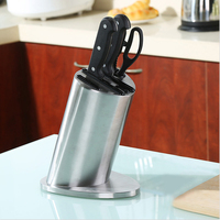5 Holes 304 Stainless Steel Knife Holder Multifunctional Storage Knife Stand Rack Metal Knife Block Kitchen Cooking Utensil Tool