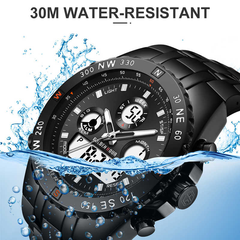 Reloj analógico deportivo de moda GOLDENHOUR Digital de doble tiempo a prueba de agua cronógrafo negro de goma Correa Reloj Hombre