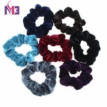 2PCS/lot Luxury Soft Feel Women Fashion Velvet Hair Bands Scrunchie Ponytail Donut Grip Loop Holder Stretchy band
