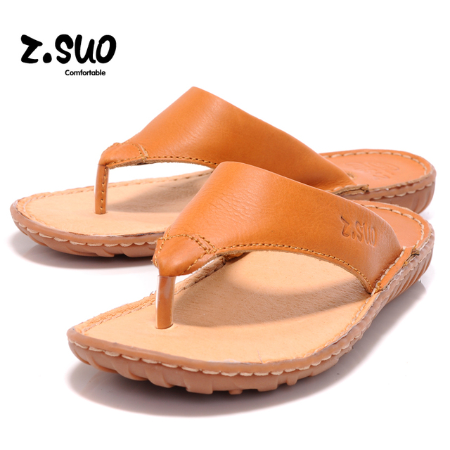 8dd6778a1a469 US $29.0 |Summer Genuine Leather Men's Flip Flops Soft Comfortable Crazy  Horse Leather Clip Toe Male Beach Slippers-in Flip Flops from Shoes on ...