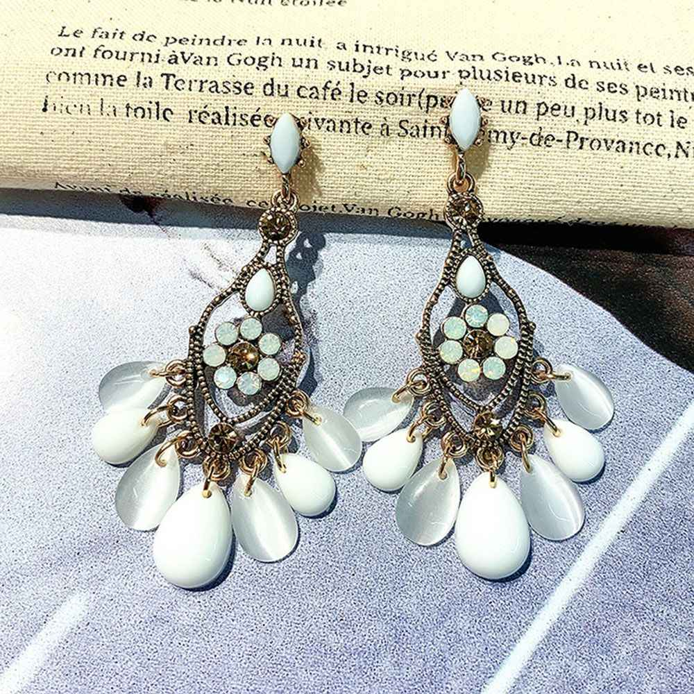 Baroque Style Acrylic Water Drop Crystal Tassel Earrings For Women Vintage Statement Flower Long Pendientes