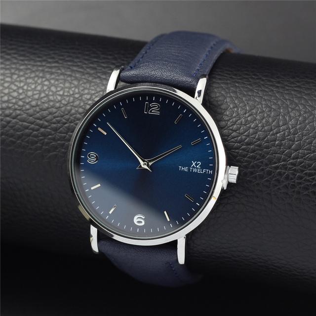 Masculino Simples Relógios Homens Militar Quartz Relógio de Luxo Da Marca X2 O DÉCIMO SEGUNDO Moda Relógio Reloj Hombre de Couro