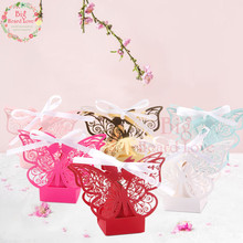 50 шт. Лазерная резка Бабочка Свадебная коробка для конфет Свадебные сувениры и подарки для рождества и свадебной вечеринки украшения(можно настроить