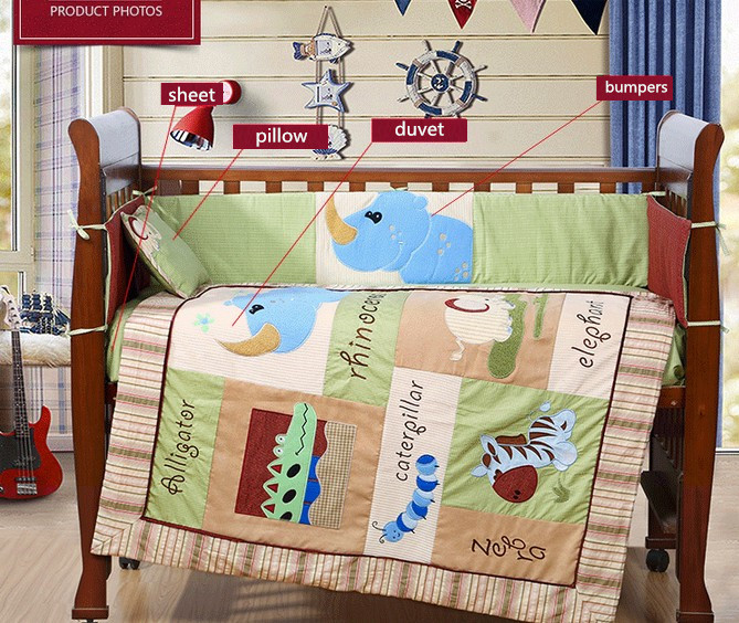 4PCS embroidery Cotton Infant Crib For Baby Boys$Girls, Baby Bedding Set ,include(bumper+duvet+sheet+pillow) 4pcs embroidered crib bedding set quilt bed sheet 100% cotton bedding set for crib include bumper duvet sheet pillow