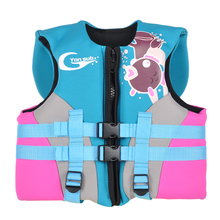 Foam Neoprene Carton Life Jacket For Kids Professional Children Snorkel&Swim Buoyancy Vest Thick And Warm Blue Free Shipping