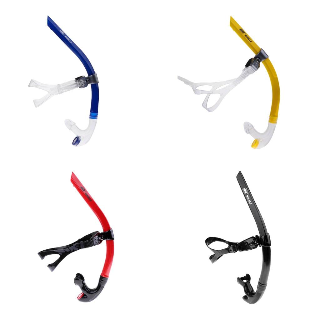 Swim Snorkel Center-Snorkel One-Way Purge Valve Center Mount With Adjustable Head Strap