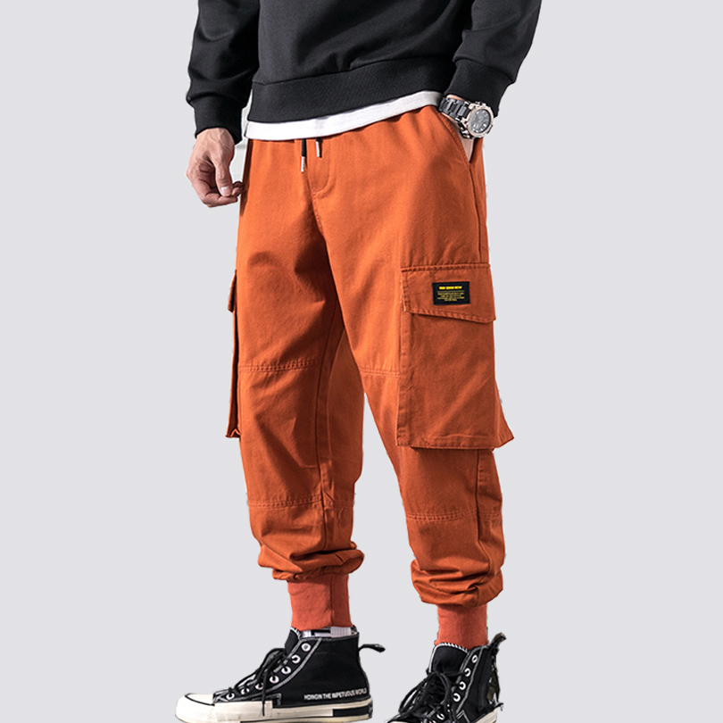 Men Cargo Pants Cotton Many Pockets Elasticity Waist Casual Trousers Male Fashion Banded Baggy Jogger Trousers 2019 New A913