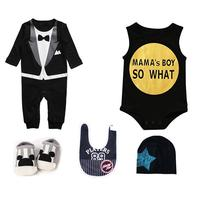 5pcs Set 0 6 Months Fashion Newborn Baby Suit Cotton Clothes Spring And Summer Clothes Romper Shoes Set Gift Box