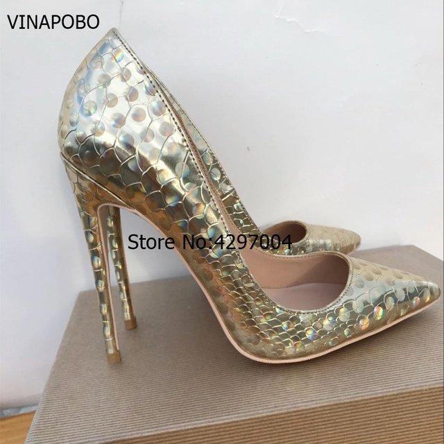 Vinapobo 2018 sexy thin high heel gold party wedding shoes women pumps  classic pointed toe Snake skin pattern women dress shoes 7f0bb942d0d6