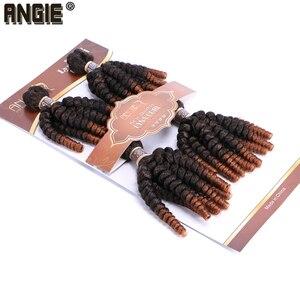 Image 3 - Angie Ombre Funmi syntetyczne włosy do przedłużania 4 wiązki jedno opakowanie w dwóch odcieniach T1B/#30 krótkie włosy doczepiane wysokiej temperatury włókna
