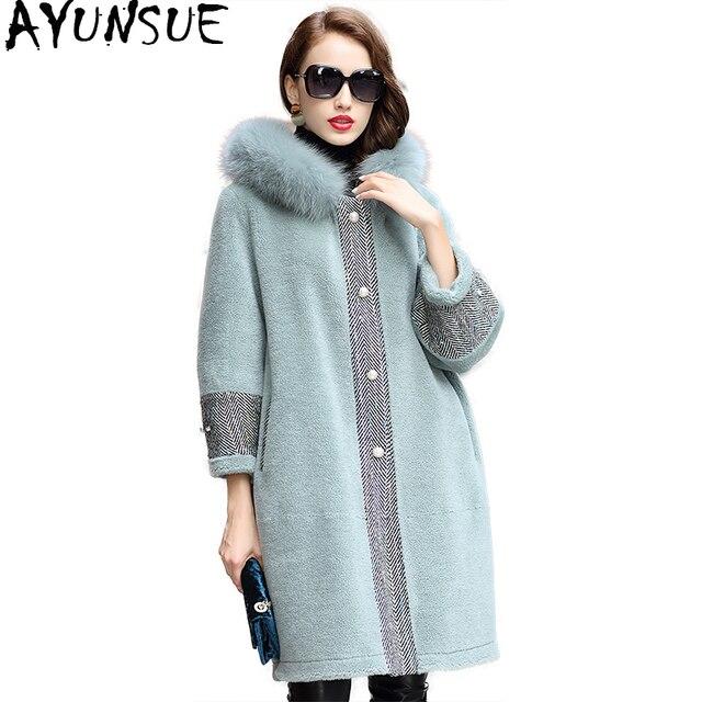 8409ae237f745 AYUNSUE 2018 Real Wool Fur Coat Female Long Sheep Shearling Jacket Women  Thick Warm Winter Coats Natural Fox Fur Hooded WYQ1831