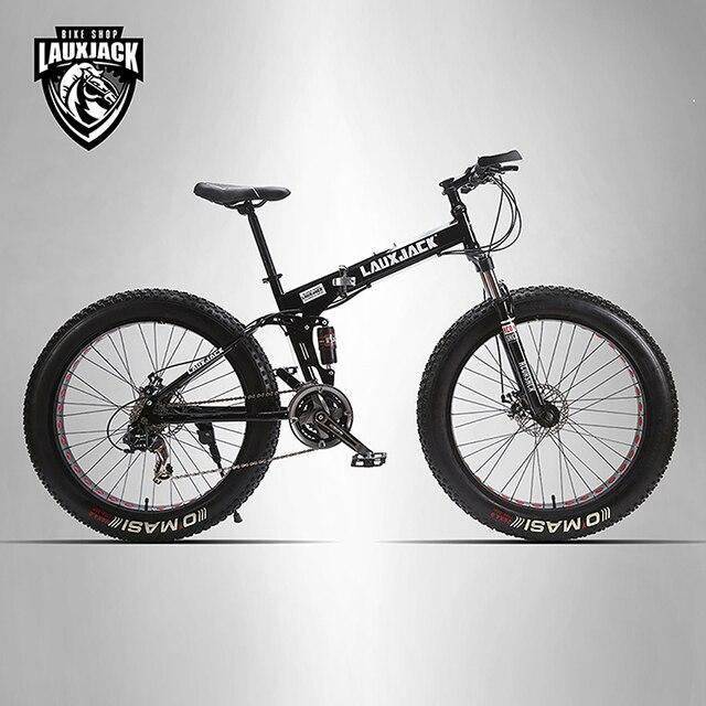 """LAUXJACK добыча двухслойная велосипед стали складной рамой 24 скоростей Shimano механические диск колеса дисковые тормоза 26 """"x4.0 жира велосипед"""