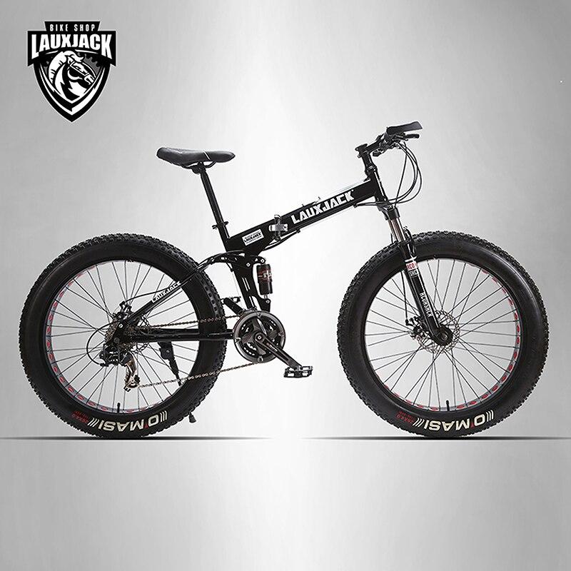 LAUXJACK Mining deux plis vélo acier cadre pliant 24 vitesses Shimano mécanique disque roue freins à disque 26 x4.0 gros vélo
