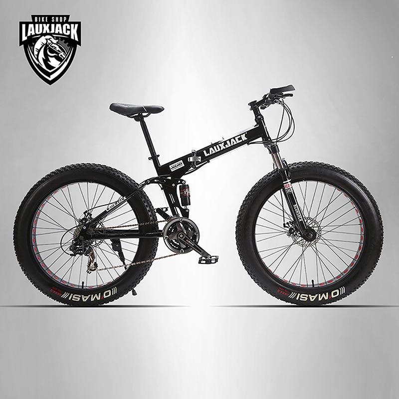 LAUXJACK Mining two-ply bicycle steel folding frame 24 speed Shimano mechanical disc wheel disc brakes 26 x4.0 Fat Bike