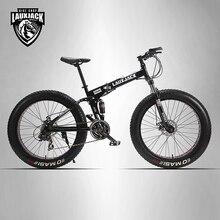 LAUXJACK горные двухслойные велосипедные стальные складные рамы 24 скорости Shimano механические дисковые тормоза 26 «x4.0 Fat Bike