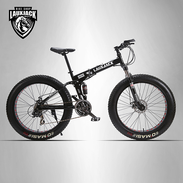 "LAUXJACK Mining two-ply bicycle steel folding frame 24 speed Shimano mechanical disc wheel disc brakes 26 ""x4.0 Fat Bike"